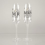 Set Of 2 Happy 50th Wedding Anniversary Glass Champagne Flutes In Gift Box