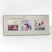 "Engagement Mirrored Glass Triple Photo Frame Gift 12"" x 5"""