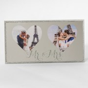 "Mr & Mrs Wedding Double Heart Mirrored Glass Photo Frame Gift 9.5"" x 5"""
