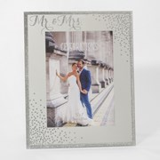 "Mr & Mrs Mirrored Glass Wedding Day Photo Frame Gift 9.5"" x 7.5"""