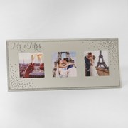 "Mr & Mrs Triple Mirror Effect & Glitter Wedding Day Photo Frame 5.5"" x 12"""