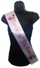 White Mother Of Groom Hen Party Girls Night Satin Ribbon Sash - Pink Hearts
