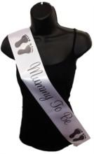White Mummy To Be Baby Shower Party Satin Ribbon Sash - Black Baby Feet
