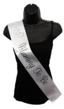 White Mummy To Be Baby Shower Party Satin Ribbon Sash - Black Rocking Horse