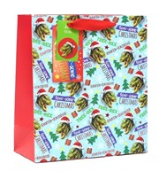 """Medium Christmas Gift Bag -Dinosaurs in Santa Hats Trees & Gifts with Foil 10x8"""""""