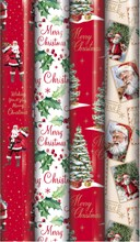 20m (4x5m) Traditional Christmas Gift Wrapping Paper - Santa Tree Holly PKT 5-8