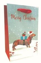 """Small Christmas Gift Bag - Dachshund Sausage Dog in Snow 8"""" x 5"""""""