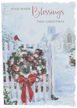 """Open Christmas Card - Wreath on Gate by Church with Glitter   7.75"""" x 5.25"""""""