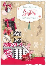 """Sister Christmas Card -Gifts with Bows Poinsettia Snowflakes & Glitter 7.5x5.25"""""""