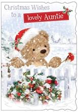"Auntie Christmas Card - Bear Robin White Fence Wreath Glitter 7.5 x 5.25"""