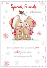 Special Friends Christmas Card - Bears Robin and Mistletoe with Glitter 7.5x5.25