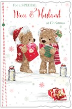 """Niece & Husband Christmas Card - Bears Holding Gifts with Glitter 9x6"""""""