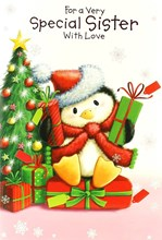 "Sister Christmas Card - Cute Penguin, Xmas Tree & Bright Presents 7.5"" x 5.25"""