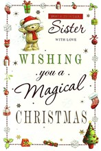 "Sister Christmas Card - Cute Santa Bear, Little Presents & Snowflakes 9"" x 6"""