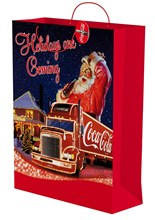 "Jumbo Coca Cola Christmas Gift Bag 23.5"" x 18"" - Holidays Are Coming Santa Claus"