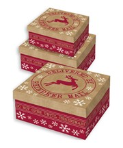 Set Of 3 Large Christmas Square Nested Gift Boxes - Modern Delivered by Reindeer