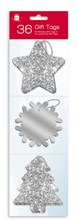 Pack Of 36 Luxury Glitter Foiled Christmas Gift Tags & Metallic Thread - Silver