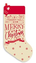 "Adult or Child 20"" Christmas Stocking - Modern Red Calico Merry Christmas Design"