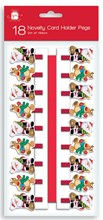 Pack Of 18 Novelty Christmas Card Holder Pegs With Red Ribbon - Santa & Rudolph