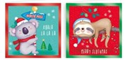 Pack Of 20 Mini Square Christmas Cards with Foil - Koala & Sloth in Santa Hats