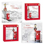 Pack Of 12 Square Foiled Christmas Cards - Red Post Box & Street Light with Foil