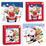 Pack Of 12 Square Foiled Christmas Cards - Santa Skiing & Santa in Car with Foil