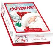 Box Of 20 Cute Luxury Christmas Cards - 2 Designs Per Pack - Jolly Santa Snowman