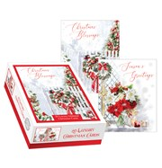 Box of 20 Religious Glitter Christmas Cards - 2 Designs - Winter Blessings