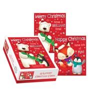 Box of 20 Cute Foiled Christmas Cards - 2 Designs - Polar Bear Penguin Fox