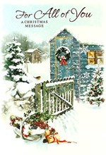 """All Of You Christmas Card - Traditional Big Blue Shed, Robin & Gate 7.5"""" x 5.25"""""""