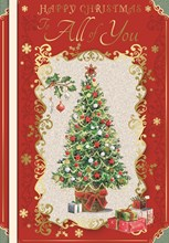 All Of You Christmas Card - Xmas Tree with Red Diamante and Gold Foil 9.5x6.75""