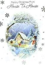 "House To House Christmas Card - Traditional Purple House & Snowman 7.5"" x 5.25"""
