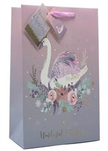 """Small Christmas Gift Bag - Pink and Lilac with Swan and Gold Foil 8"""" x 5"""""""