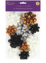 Pack of 12 Christmas Gift Bows - Assorted Sizes - Copper White Black Silver