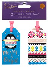Pack Of 12 Foil Christmas Tags - Penguin Merry & Bright