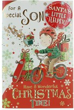 """Son Christmas Card & Badge - Boy On A Bike With Gifts & Gold Foil  9"""" x 6"""""""