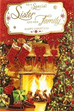 "Sister & Family Christmas Card - Traditional Fireplace, Big Tree & Gifts 9"" x 6"""
