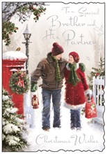 "Jonny Javelin Brother & Partner Christmas Card - Couple & Red Postbox 9"" x 6.25"""