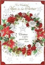 "Mum & Partner Christmas Card - Traditional Flower Wreath & Gold Stars 8.75"" x 6"""