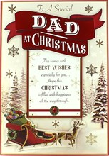 """Dad Christmas Card - Traditional Sleigh & Reindeer with Red Gold Foil 9.75x6.75"""""""