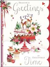 "Jonny Javelin Open Christmas Card - Reindeer, Xmas Cakes & Flowers 7.25"" x 5.5"""