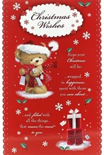 "Open Christmas Card - Cute Santa Bear, Gift Bags, Present & Holly Sprigs 9"" x 6"""