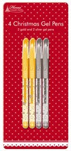 Anker Pack Of 4 Christmas Gold & Silver Gel Pens - Includes 2 Gold & 2 Silver