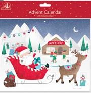 "Children's Christmas Advent Calendar - Cute Santa Sleigh Workshop 9.75""x8"""