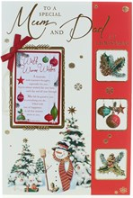 """Mum & Dad Christmas Card - Snowman Trees & Baubles with Glitter & Foil 9x6"""""""