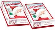 40 Cute Glitter Christmas Cards 2 x Box Of 20 - 2 Designs - Jolly Santa Snowman