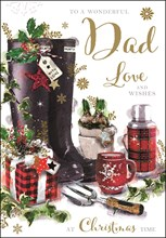 Jonny Javelin Dad Christmas Card - Wellies Flask with Glitter Gold Foil 9x6""