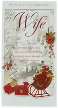 "Wife Christmas Card - Red Glitter Sleigh And Handbag With Xmas Flowers 9 x 4.75"""
