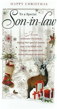 """Son-in-Law Christmas Card - Traditional Reindeer, Stocking & Presents 9"""" x 4.75"""""""