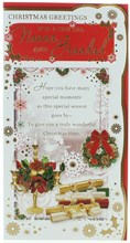 """Nanna & Grandad Christmas Card -Candles & Crackers With Gold Foil Detail 9x4.75"""""""